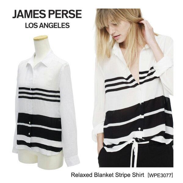 【並行輸入品】『James Perse-ジェームスパース-』Relaxed Blanket Stripe Shirt[WPE3077][レディース・トップス・シャツ・ストライプ]