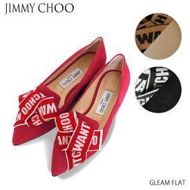 【送料無料】【並行輸入品】【2019 SS】『JIMMY CHOO-ジミーチュウ-』GLEAM FLAT-スエード ロゴ ボウ グリーム フラット パンプス-【ポイント最大44倍!お買い物マラソン】