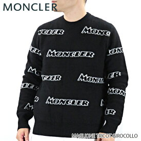【送料無料】【2019 AW】【並行輸入品】『MONCLER-モンクレール-』MAGLIONE TRICOT GIROCOLLO マリオーネ メンズ セーター ニット ブラック 総柄 ロゴ[90436 00 A9138]