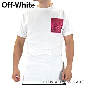 【最大1000円OFFクーポン配布中 買い物マラソン期間限定】Off White オフホワイト HALFTONE ARROWS S/S SLIM TEE メンズ Tシャツ クルーネック 半袖〔OMAA027E19185009〕