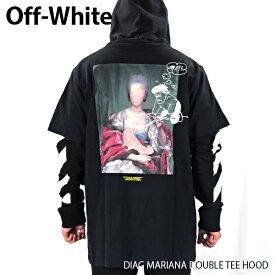【2000円OFFクーポン適用商品 】Off White オフホワイト DIAG MARIANA DOUBLE TEE HOOD メンズ ロンT フーディ 長袖 レイヤード〔OMAB033E19185005〕