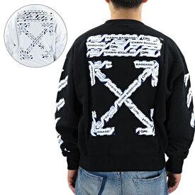 Off White オフホワイト AIRPORT TAPE OVER CREWNECK エアポート テープ オーバー クルーネック 長袖 メンズ[OMBA035S20E30003]