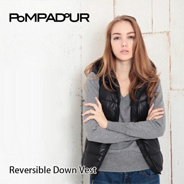 『Pompadour-ポンパドール-』Reversible Down Vest -リバーシブル ダウン ベスト-[レディース ダウンジャケット 無地 カモフラ柄]