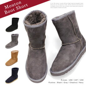 『Pompadour-ポンパドール-』Mouton Boot Short-シープスキン ムートン ブーツ ショート-[レディース リアルファー 本革]
