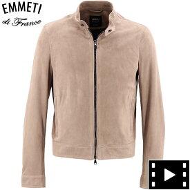エンメティ EMMETI メンズ ゴートスキン スエードレザー シングルライダースジャケット ユーリ JURI CAM LIS OLD ROSE(ピンクベージュ)