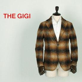 【クリアランスセール70%OFF】THE GIGI ザ・ジジ メンズ モヘヤ オンブレチェック 2B シングルジャケット ANGIE E082 (ブラウン)【返品交換不可】special priceCM