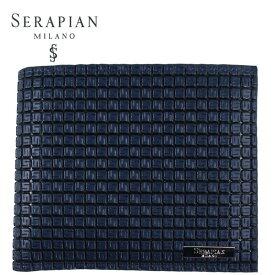 国内正規品 即日発送 SERAPIAN セラピアン PVC型押し 二つ折り財布 SSTGAMSL6136-M11-AC20(ネイビー×ブラック)