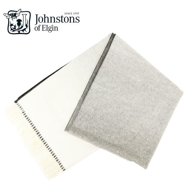 2018-19年秋冬新作 国内正規品 JOHNSTONS ジョンストンズ カシミア100% 大判 ストール グラデーション WA000056 RU5939(ホワイト×グレー)