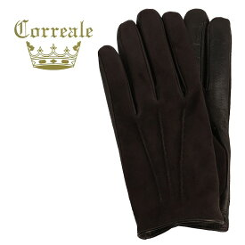 国内正規品 即日発送 Correale gloves コレアーレグローブス メンズ ラムスエード×シープスキン ナッパレザー カシミアライニング グローブ CRM-6013(ダークブラウン)