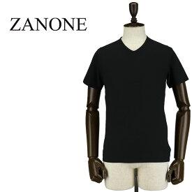 ZANONE ザノーネ メンズ アイスコットン Vネック 半袖Tシャツ T-SHIRT V 810237 Z0380 Z0015(ブラック)