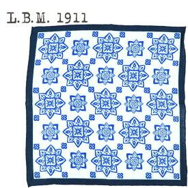 L.B.M.1911 エルビーエム1911 花柄 リネン ポケットチーフ POCKET CHIEF AL65759246 001(ブルー)【送料込】
