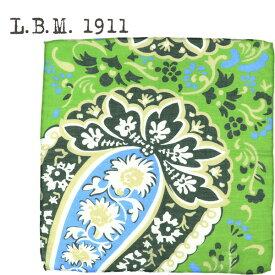 L.B.M.1911 エルビーエム1911 ペイズリー柄 コットンリネン ポケットチーフ POCKET CHIEF AL65759254 002(グリーン)【送料込】