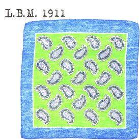 L.B.M.1911 エルビーエム1911 ペイズリー柄 コットンリネン ポケットチーフ POCKET CHIEF AL65759255 002(グリーン)【送料込】