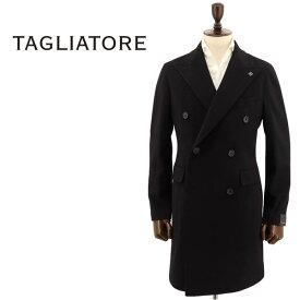国内正規品 即日発送 TAGLIATORE タリアトーレ メンズ カシミア混 ヴァージンウール 6B ダブルブレスト チェスターコート CFBL10B 35UIC074 N3462(ブラック)