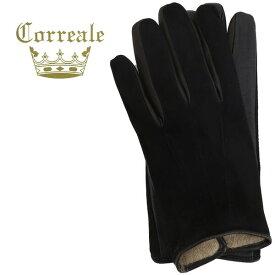 2019-20年秋冬新作 国内正規品 Correale gloves コレアーレグローブス メンズ ラムスエード×シープスキン ナッパレザー カシミア タッチパネル対応 グローブ 手袋 CRM-6063(ブラック)