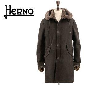 【新春セール】ヘルノ HERNO メンズ M-51 ムートン モッズコート PL0092U-18096 8990(ブラウン)【返品交換不可】special priceAM