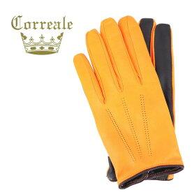 コレアーレグローブス Correale gloves メンズ シープスキン ナッパレザー カシミア タッチパネル対応 グローブ 手袋 CRM-6072(イエロー)