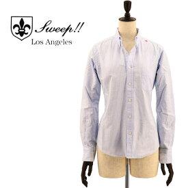 SWEEP!! LosAngeles スウィープ ロサンゼルス レディース コットン オックスフォード ストライプ ボタンダウンシャツ OXFORD STRIPE B.D-W BLUE(ブルー)