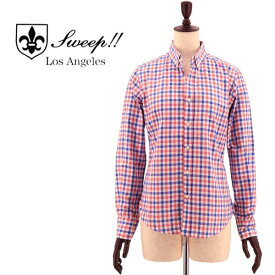 SWEEP!! LosAngeles スウィープ ロサンゼルス レディース コットン オックスフォード ギンガムチェック ボタンダウンシャツ OX GINGHAM B.D-W BL/OR(ブルー×オレンジ)