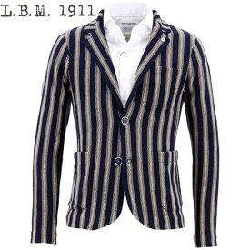 【クリアランスセール】L.B.M.1911 エルビーエム1911 メンズ コットンニット ストライプ 2B シングルジャケット KNIT JACKET 0101-28979132 1(ネイビー)【返品交換不可】special priceAM