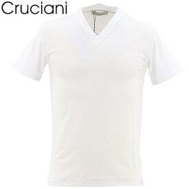 【楽天スーパーセール】クルチアーニ CRUCIANI メンズ コットン Vネック 半袖 Tシャツ JU1303/1000(ホワイト)【返品交換不可】special priceAM