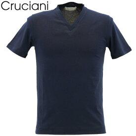 【楽天スーパーセール】クルチアーニ CRUCIANI メンズ コットン Vネック 半袖 Tシャツ JU1303/10973(ネイビー)【返品交換不可】special priceAM