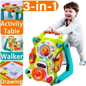 3wayベビーウォーカー(グリーン) 手押し車&お絵描きボード&知育玩具 机 幼児 ミュージカルファンテーブル ライトとサウンド かたかた 歩行器 学習 子ども 誕生日 クリスマス 3-in-1 NuoPeng grow