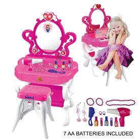 【2点以上購入で更に15%OFFクーポン】2WAYプリンセスドレッサー&ピアノ♪バニティセット ガールズグッズ メイクアップアクセサリー2-in-1(ピアノと点滅ライト、大きな鏡、化粧品、ヘアドライヤー)ごっこ遊び 誕生日 クリスマス