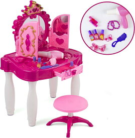 プリンセスドレッサー(王冠)キッズバニティテーブル 椅子 クラウン チェア ビューティーミラーとアクセサリー 鏡 ごっこ遊び 化粧品 ドライヤー 誕生日 クリスマス