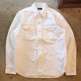 JELADO(ジェラード)【AG51105】【Pressman Shirt(プレスマンシャツ) ホワイト】長袖ワークシャツ 厚手キャンバス地ボーイスカウトシャツ MADE IN JAPAN