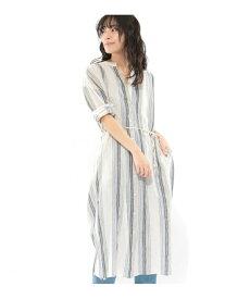 【SALE/52%OFF】(W)LCランダムストライプOP LAKOLE ラコレ ワンピース シャツワンピース ブルー ベージュ【RBA_E】[Rakuten Fashion]