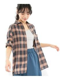 【SALE/58%OFF】(W)TCシアーチェックSH LAKOLE ラコレ シャツ/ブラウス 長袖シャツ ネイビー ベージュ【RBA_E】[Rakuten Fashion]
