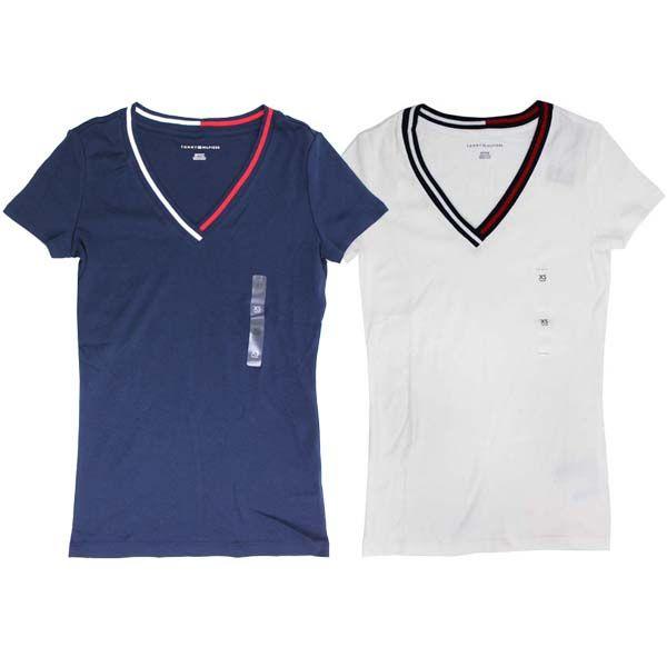 トミーヒルフィガー Tommy Hilfiger レディース Vネック Tシャツ トップス ネイビー/ホワイト