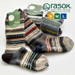 rasoxラソックスジャガードウールクルーソックス靴下L字日本製メンズレディースユニセックス秋冬