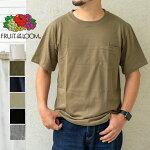 FRUITOFTHELOOMフルーツオブザルームポケットTシャツ半袖コットントップス無地メンズレディースユニセックスシンプル