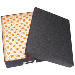 デニム 書類ボックス A4サイズ ネームプレート付き 「オレンジ」(花柄・アプリコット)小物入れ 書類箱 布箱 文庫箱 貼箱 お道具箱 お裁縫箱 収納ボックス カルトナージュ 整理 おしゃれ