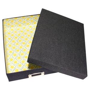 デニム 書類ボックス A4サイズ ネームプレート付き 「レモン」(花柄・黄色・イエロー)小物入れ 書類箱 布箱 文庫箱 貼箱 お道具箱 お裁縫箱 収納ボックス カルトナージュ 整理 おしゃれ