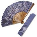 布扇子 扇子袋 セット 女性用 「藍の彩り 鉄線」 差し袋セット 婦人用 レディース 和服 夏ギフト 京都 和雑貨 母の日…