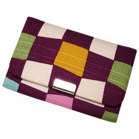 名刺 カードケース マチ付き 「市松 紫」 名刺カードケース 名刺ケース カード入れ スナップボタン付き 綿 布製 和風 和柄 日本製 内定祝い 【メール便対応商品】
