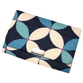 名刺 カードケース マチ付き 「七宝 ブルー」 名刺カードケース 名刺ケース カード入れ スナップボタン付き 綿 布製 和風 和柄 日本製 内定祝い 【メール便対応商品】