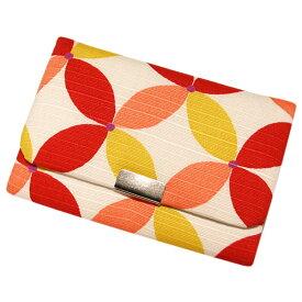 名刺 カードケース マチ付き 「七宝 赤シロ」 名刺カードケース 名刺ケース カード入れ スナップボタン付き 綿 布製 和風 和柄 日本製 内定祝い 【メール便対応商品】