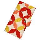 二つ折りカードケース 「七宝 赤シロ」 カードケース 二つ折り カード入れ 手帳型 薄型 綿 布製 和風 和柄 日本製 【メール便対応商品】