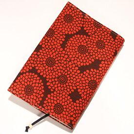 ブックカバー 新書本サイズ 「菊 赤」 新書版 本 カバー 読書 しおり付き 長さ調節 綿 布製 和風 和柄 日本製 【メール便対応商品】