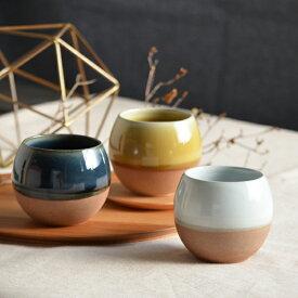 【SALIU】ころころ SA02 湯呑み ロックカップ ホワイト 白 ネイビー 紺 イエロー 黄色 ロロ LOLO 陶器 日本製