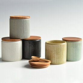【SALIU】キャニスター SA00 しのぎ チーク材 削ぎ 木蓋 陶器 LOLO ロロ 美濃焼 日本製