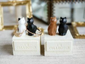 【Neco】リングスタンド ダブル ネコc指輪置き 黒猫 三毛猫 ブラウン 猫 ねこ キャット cat ティーズコレクション T's COLLECTION