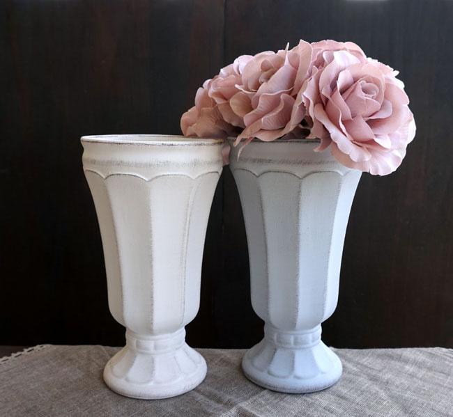 【フラワー】Gris et blanc グリ エ ブラン  ハイ L /ホワイト・グレイ/白・灰色/アンティーク風/アンティーク調/フラワーアレンジメント/フラワーアレンジ/花器/花瓶/陶器/Clay/クレイ