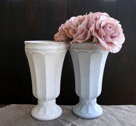 【フラワー】Gris et blanc グリ エ ブラン  ハイ L  ホワイト・グレイ 白・灰色 アンティーク風 アンティーク調 フラワーアレンジメント フラワーアレンジ 花器 花瓶 陶器 Clay クレイ