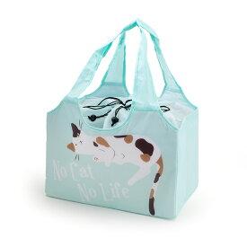 【Abeille】Shopping Basket Bag ミント ミケ /猫/青/ブルー/ミケ猫/エコバッグ/ショッピングバッグ/買い物バッグ/キャット/cat/猫好き/