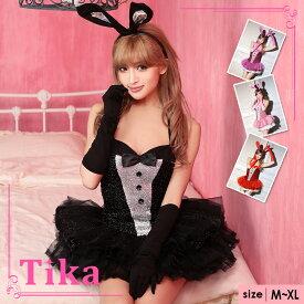 Tika ハロウィン コスプレ バニーガール 3点セット ブラック うさぎ ウサギ コスプレ ハロウィン衣装 仮装 コスチューム バニー ハロウィンコスチューム レディース バニーガールコスプレ セクシー 大きいサイズ